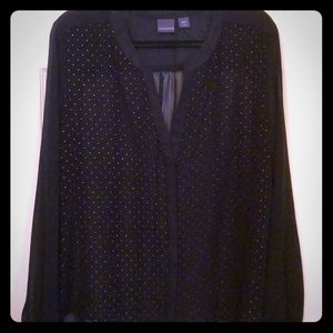 Covington Black Blouse w/ Gold Dots